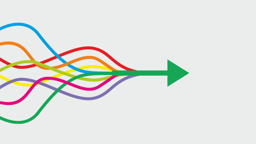 Colorful lines combining to symbolize streamlined project management.